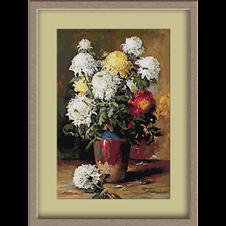3134.Elena Muller-Stancescu.Chrysanthemums in a clay pot